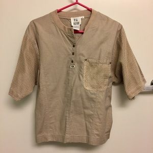 Vintage Tan Top with Mesh Overlay